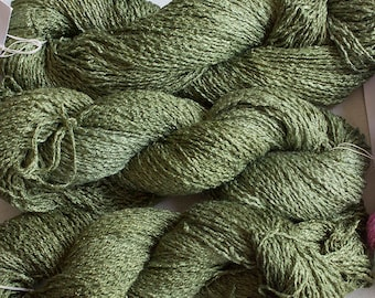 Parakeet, Hand-dyed Rayon Boucle Yarn, 225 yds -  Olive