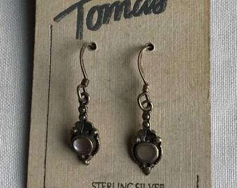 Vintage Sterling Silver Pearl Pierced Earrings