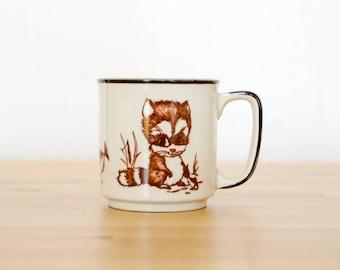 Vintage Raccoon Mug • Kawaii Mori Kei • Japanese Collectible • 60s 70s • Wildlife Coffee Cup • Woodland Creature • Cute Forest Animal
