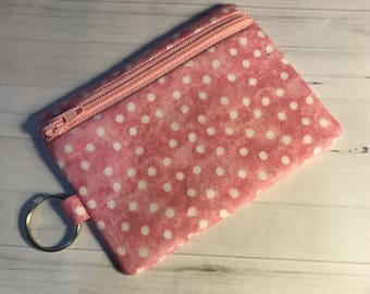 Zipper Coin Card Holder Mini Wallet Pouch Pink and white dots