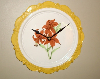 Vintage Hand Painted Floral Wall Clock, 10 inches SILENT, White and Yellow Floral Clock, Ceramic Plate Kitchen Clock - 2248