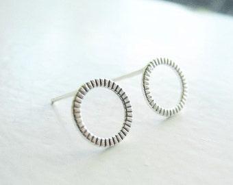 Hoop Stud Earrings, Round Stud Earrings, Sterling Silver Circle Earrings, Hammered Hoop Earrings, Silver Hypoallergenic Studs (E264)