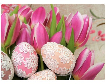 Easter hostess gift etsy easter pink tulips glass cutting board pastel colored fabric eggs kitchen counter top negle Images