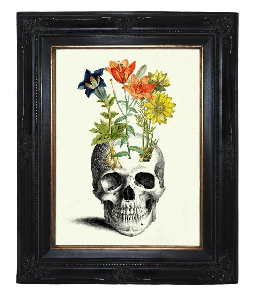 Totenkopf Kunstdruck Blumen Pflanzen Gothic Kunstdruck
