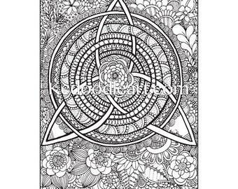 instant digital download - adult coloring page - celtic knot inspired doodles