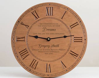 Personalized Graduation Wood Wall Clock: Personalized Graduation Gift, Masters Degree Graduation Gift, Doctorate Degree Gift