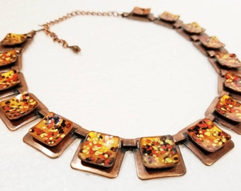 Art Deco Copper & Enamel Square Choker Necklace Signed Matisse Adjustable