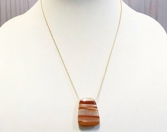 Orange and white natural stone necklace