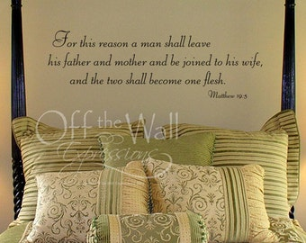 And the Two Shall Become One, vinyl decal wedding wall art decal verse, Matthew 19 5