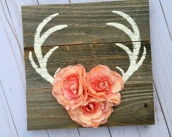 Antler Art, Antler Wall Decor, Antler Painting, Antlers With Flowers, Boho Wall Art, Antler Wall Hanging, Woodland Decor, Rustic Nursery
