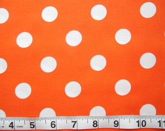 Orange with White Dots cotton fabric by the yard