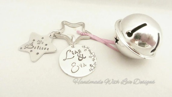 I Believe, We believe, Christmas magical Jingle bell - handstamped personalised custom names.