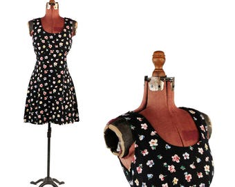 Vintage 1990's Black Soft Rayon Mini Grunge Ditsy Floral Print Sleeveless Dress S