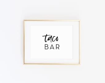 Taco Bar Sign, Food Table Printable Sign, Taco and Guacamole, Food Cart Decor, Bridal Shower Decor, Wedding Decorations, Modern, CLARA