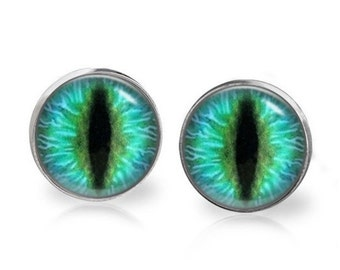 14mm Aqua Green Cat Eye Glass Dome Stud Earrings Surgical Stainless Steel Post