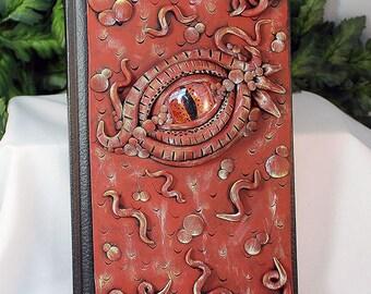 Red Polymer Clay Dragon Eye Journal - Dragon Eye Journal - Polymer Clay Sketchbook - Dragon eye Book - Art Sketchbook - Drawing - 2-015-50