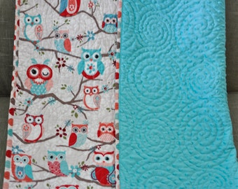 CUSTOM ORDER Cute Owl Quilt, Baby Girl, Modern Quilted Aqua Dotted Minky Blanket, Owls on Branches-Aqua, Coral, Teal, Nursery Bedding