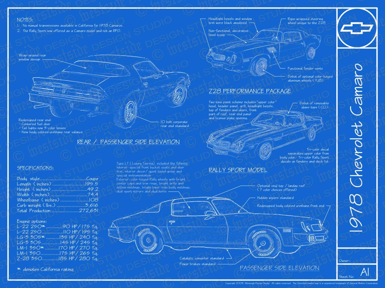1978 chevrolet camaro blueprint poster 18x24 jpeg zoom malvernweather Choice Image