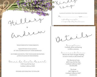 Simple wedding Suite. Invitation, RSVP, Details/Directions. Printable, Customizable