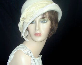 Custom Convertible ~Mary~ 4 in 1 cloche with velvet- Downton Abbey hat, Miss Fisher, Great Gatsby hat