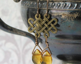 Celtic Knot Earrings with Amber Glass teardrops / Outlander Inspired Jewelry