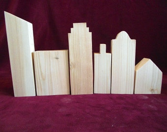 Unfinished Basic Cityscape, 6 piece Pine Cutouts