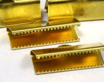 10 pcs 25x10 mm Raw Brass Ribbon Crimp Ends, Raw Brass Ribbon Crimp End, Ribbon Crimp Ends cap, with loop Findings 230R-B