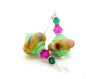 Mint Green Earrings, Old World Earrings, Lampwork Earrings, Glass Earrings, Glass Bead Earrings, Unique Earrings, Colorful Earrings