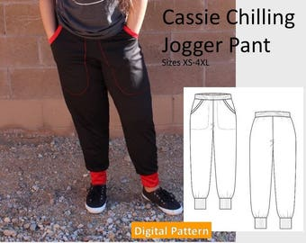 Ladies Jogger Sweat Pant -  Size Sizes XS, S, M, L, XL, 2XL, 3XL, 4XL - Downloadable Digital PDF Sewing Pattern, Sweat Pant, Pockets, Easy