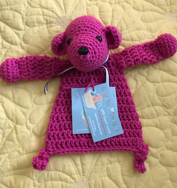 Hot Pink Mini Bear Rag Doll Toy/Lovey