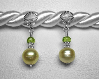 Golden South Sea Pearl and Peridot Earrings in Silver