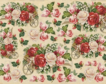 "Art paper Scrapbooking Decoupage paper napkins Art print Vintage designer Collage Wrapping Craft DIY Handmade Flowers roses paper 8X11""#V1"