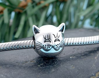 De'Lageo, 925 Sterling Silver Contented Cat Charm,