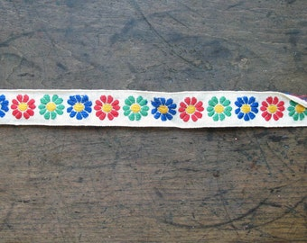 Vintage Colored Trim 10in flower power multi colored