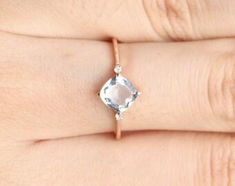 Sale!  Cushion cut aquamarine ring in solid 18k gold, Diamond Engagement Ring, Alternative Engagement Ring