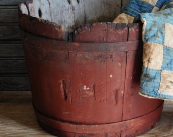 Primitive Antique Wooden Bucket, Early American, Red Wooden Sap Pail