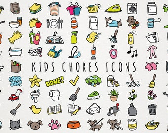 Kids Chores Icons Set - daily tasks, organizer clipart, chore chart clipart, hand drawn clipart, printable stickers, toddler chores