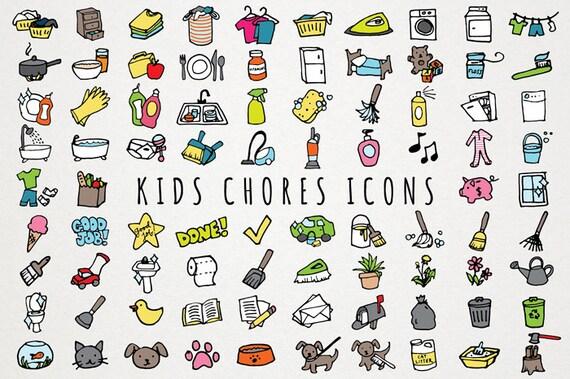 kids chores icons set daily tasks organizer clipart chore rh etsy com preschool chore chart clipart Household Chores Clip Art