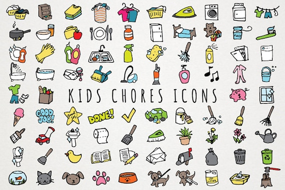 Kids Chores Icons Set Daily Tasks Organizer Clipart Chore