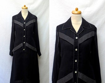 1960s / 70s Vintage Voile Dress / Black Shirtwaist Dress with White Outline Stitch