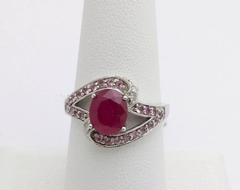 Oval Cut Ruby with Pink Topaz and Diamond Accents 14K White Gold