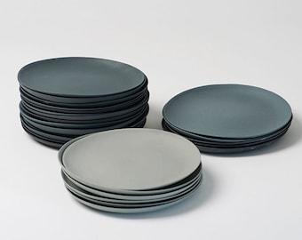 Plates porcelain gray set dinner plate 24 cm