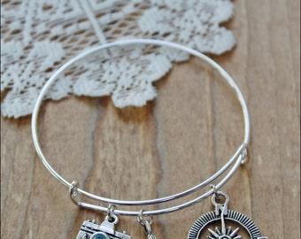 Wanderlust Bracelet, Travel Jewelry, Adventure Jewelry, Bangle Bracelet, Silver  Bracelet