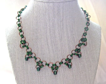 Green and Bronze Beaded Chainmail Necklace