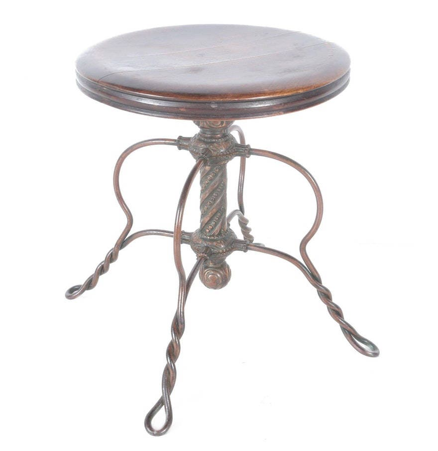 Antique Tonk Chicago Round Wood Piano Stool With Swivel