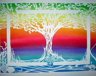 Rainbow Tree of Life Papercut Ketubah - pomegranates olive trees lotus flowers monogram - custom calligraphy Hebrew English