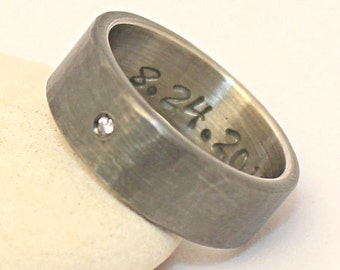 Hammered oxidized Diamond sterling silver Ring  / Wedding Band - Personalized Ring for Men / Women -  Silver Band