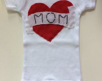 I Love Mom Tattoo Baby Onesie