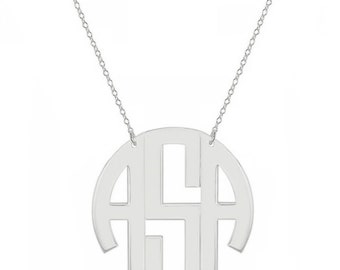 14k solid white gold block monogram necklace - 3 initials white gold monogram necklace