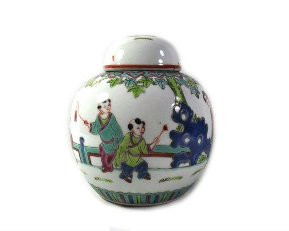 Vintage Chinese Ginger Jar with Figures